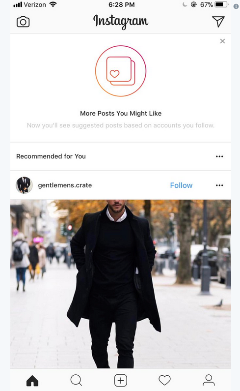 Instagram тестирует рекомендации в лентах пользователей