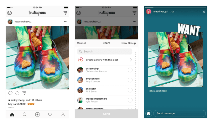 Instagram позволяет пользователям переименовывать сообщения в истории